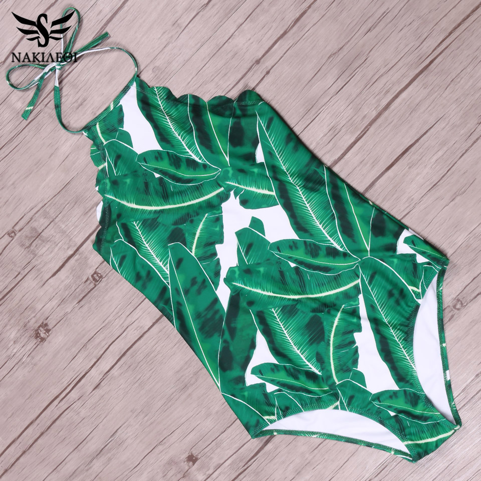 NAKIAEOI Sexy Swimwear Women One Piece Swimsuit 2017 Halter Top Green Leaf Backless Scalloped Trim Beach Bathing Suits Monokini plus size scalloped backless one piece swimsuit