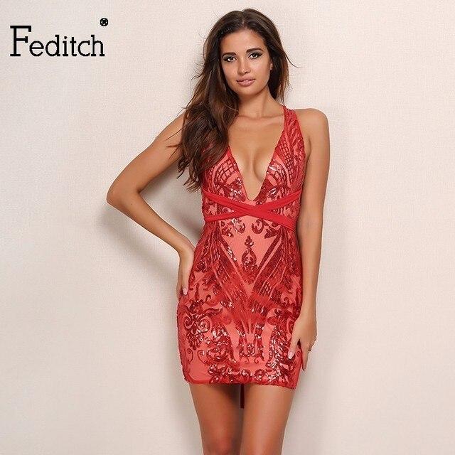 Fedith Sexy Pailletten Roten Kleid Frauen Weihnachtsfeier Elegante ...