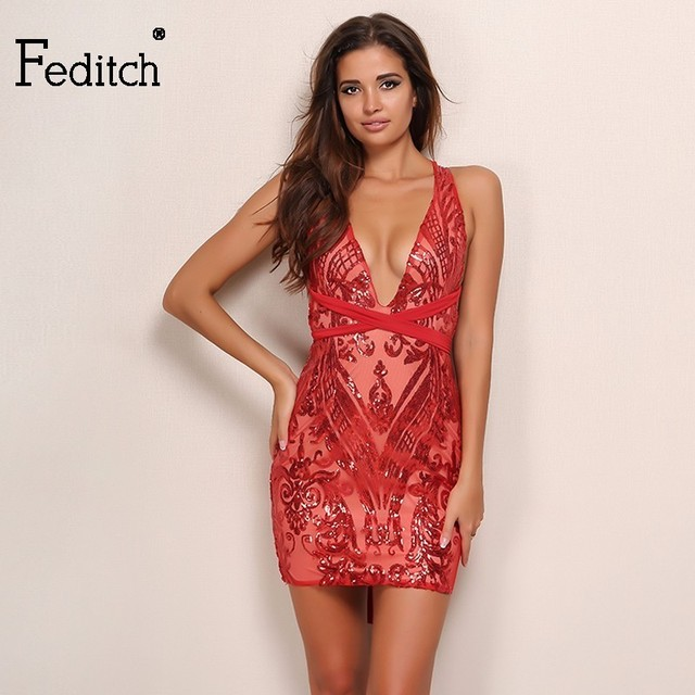 fedith sexy sequin red dress women christmas party elegant lady backless women bandage bodycon dresses club - Red Dress For Christmas Party