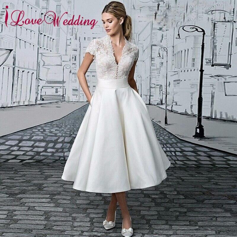 2019 New Arrival Vestido De Novia V neck Robe De Mariage Custom made Lace Tea Length