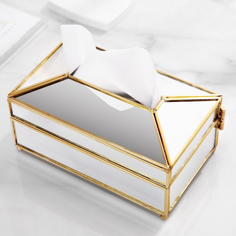 ANFEI nouveautés bijoux en verre affichage boîte de tissu d'or avec miroir couvercle couverture de tissu imperméable à l'eau bijoux affichage boîte B2311