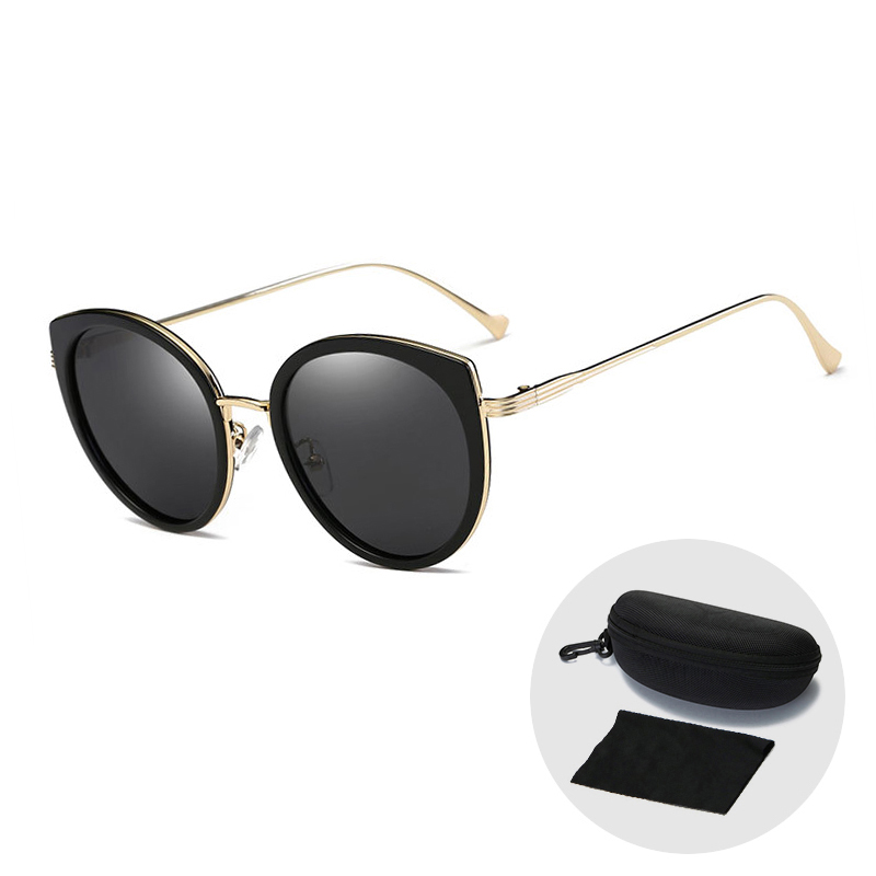 Nieuwe Gepolariseerde Zonnebril Vrouwen Mode Vintage Rijden Zonnebril Roze Retro Cat Eye Zonnebril Trending Producten Met Zip Case