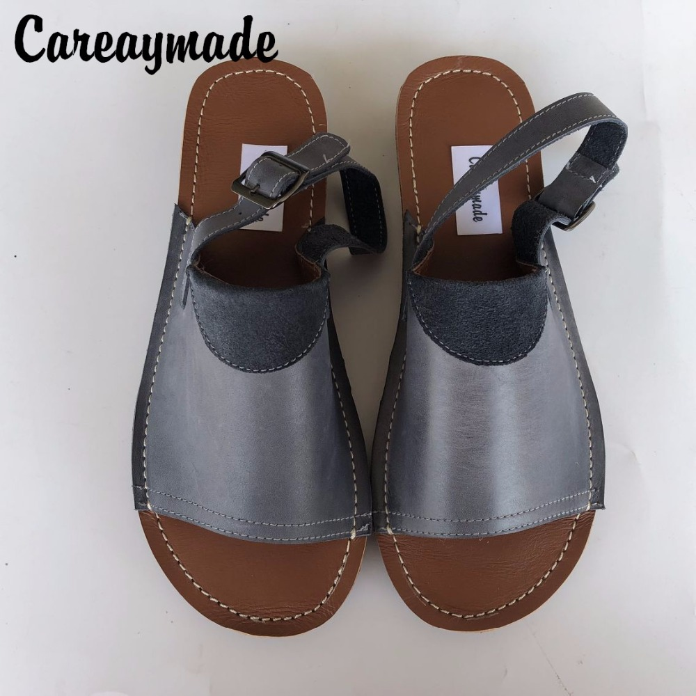 Careaymade Spring Head layer cowhide shoes Pure handmade flat Wipe color shoes Women the retro art