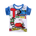 2016 nueva manga corta de dibujos animados thomas niños ocasional del verano camiseta de algodón de los muchachos de la camiseta remata camisetas ropa de niños