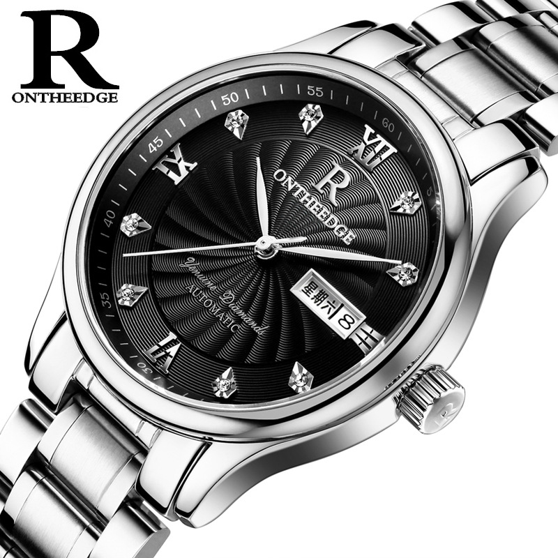 Fashion Men s brand watches Luxury quartz Thin waterproof male Wristwatches calendar Diamond stainless steel man