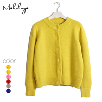 Makuluya New winter autumn wool cashmere short thick Knit solid color cardigan sweater coat female O neck all match coat QW