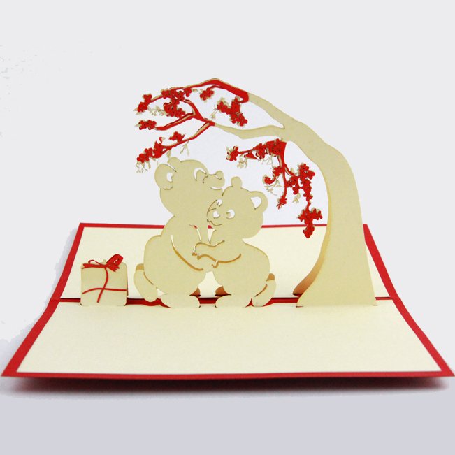 Bears love under tree /3D pop up greeting card/ handmade love card Free shipping butterfly orchid flower thank you card 3d pop up greeting card handmade card free shipping