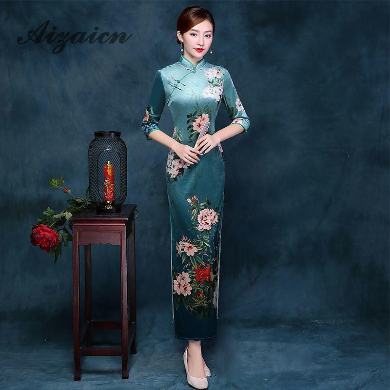 Green Chinese Tradition Vestido Oriental Robe Chinoise Traditional Cheongsam Wedding Long Qipao Dress Women Silk Qi Pao Vintage