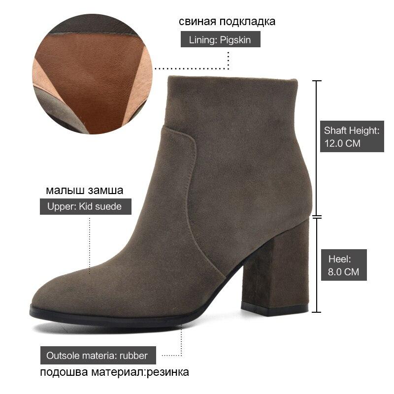 DONNA-IN Botas de cuero genuino para mujer Botines de cuero de ante - Zapatos de mujer - foto 5
