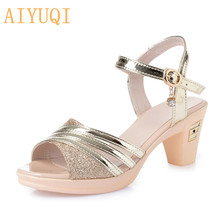 AIYUQI Womens sandals with heels 2019 new summer footwear fashionable shoes for women Open toe Roman gold