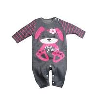 2016 New Born Baby Boy Girl Cotton Flocking Thicken Cartoon Dog Romper High Quality Kids Soft