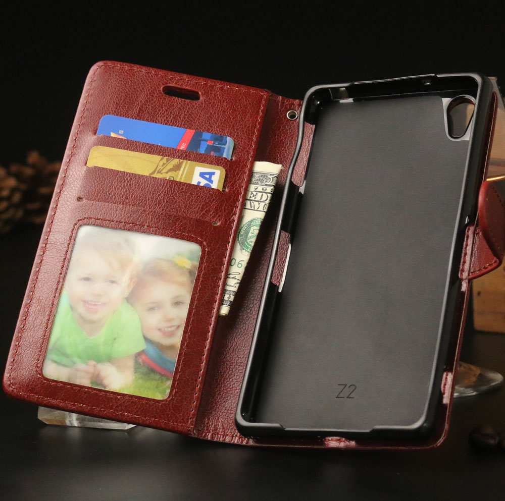 Cartera de lujo pu Funda de cuero para Sony Xperia Z2 L50 L50W C770x D6503  D6502 D650 teléfono bolsa cubierta con soporte del sostenedor de tarjeta f7cb2c19a14b