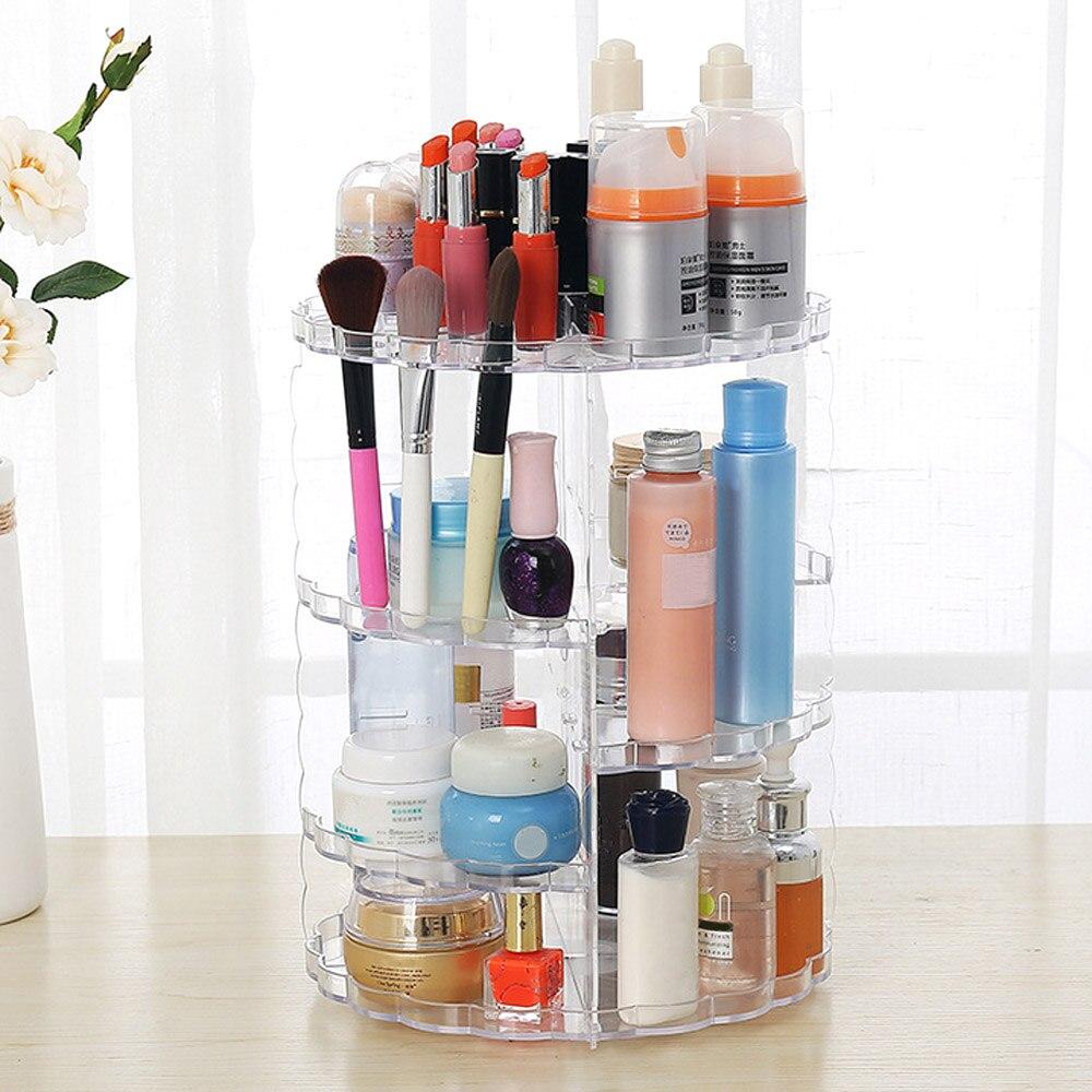 NC 360 Rotating Detachable Cosmetic Makeup Organizer Make Up Storage Lipstick Holder Jewelry Box for Bedroom Organiser