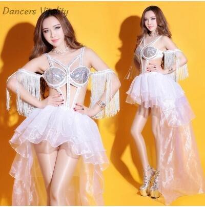 Nightclub dj female singer ds dress sexy atmosphere skirt dancers open dance dress rhinestone bodysuit sexy dance costume