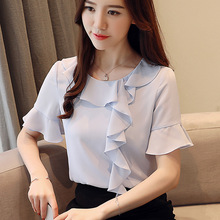 New Style Fashion Women Summer Round Collar Short Sleeve Flare Small Shirts Chiffon Blouses