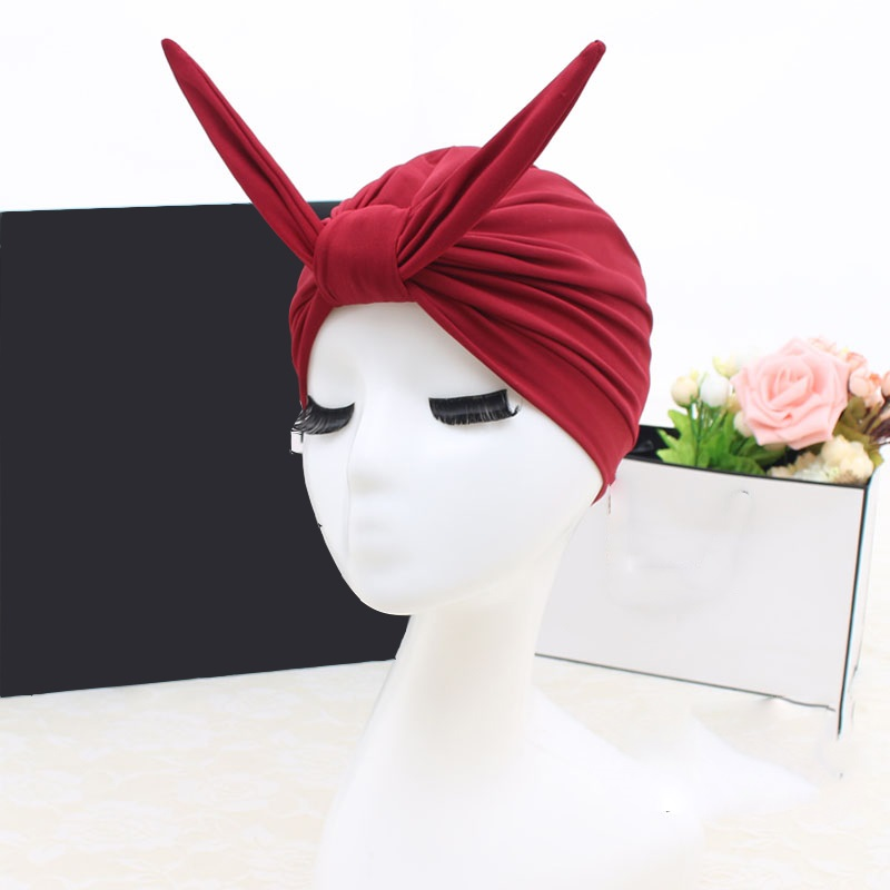 FGHGF 2018 Sexy Cute Rabbit Beach Quick Dry Pleated knot Swimming Cap Elastic For Women Girls Solid Color Bathing Hat