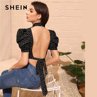 SHEIN Sexy Black Mock-Neck Puff Sleeve Knot Backless Polka Dot Top Blouse Women Summer 2019 Slim Fitted High Street Blouses