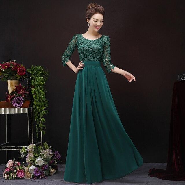 Мать невесты кружевные платья 2017 ladys длинные платья vestido де madrinha 3/4 Рукав темно-зеленый цвет длиной до пола женщины платье