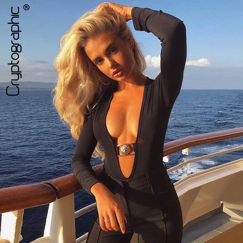 Криптографический очень сексуальный черный Глубокий V комплект для женщин 2019 модный боди с длинным рукавом облегающее боди с глубоким вырезом облегающее боди