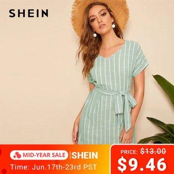 b52d6c2245 SHEIN V cuello Vertical rayado vestido con cinturón 2019 elegante verde  Pastel manga corta verano mujeres túnica vestidos rectos