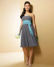 Free Shipping Chic Exquisite Sheath Short Strapless Knee Length Chiffon Western Style Bridesmaid Dresses BD038