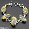Hermosa Jewelry Charming Fashion Gold hair crystal 925 Sterling Silver Bracelets 6 inches Adjustable HM364