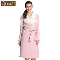 Qianxiu Winter Robe Women Thicken Polyester Warm Sexy Bathrobe soft Sleepwear 1570