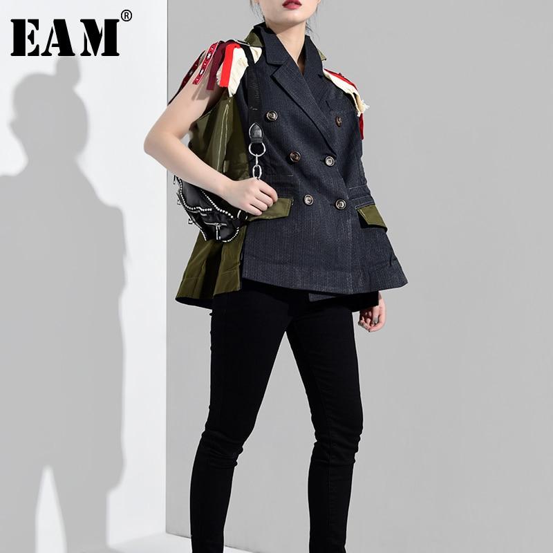 [EAM] 2019 New Spring Summer V-collar Sleeveless Jacquard Black Dot Printed Loose Irregular Hem Vest Women Fashion Tide JO19