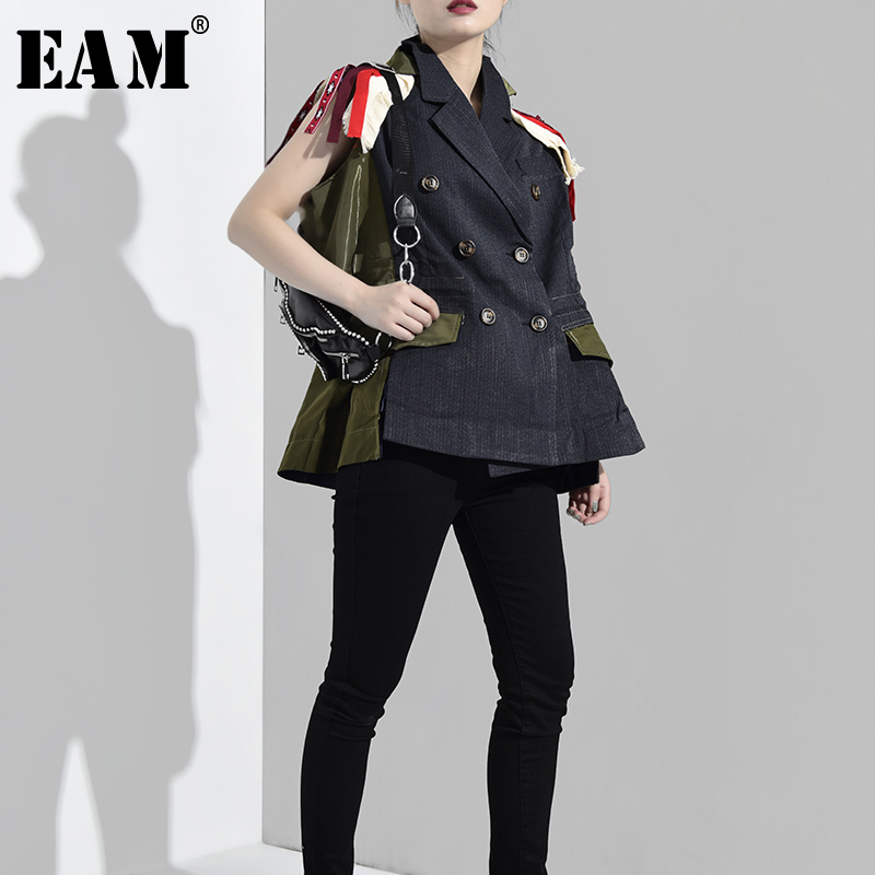 [EAM] 2020 New Spring Autumn Lapel Sleeveless Embroidery Spliced Hit Color Loose Big Size Personality Vest Women Fashion QJ016