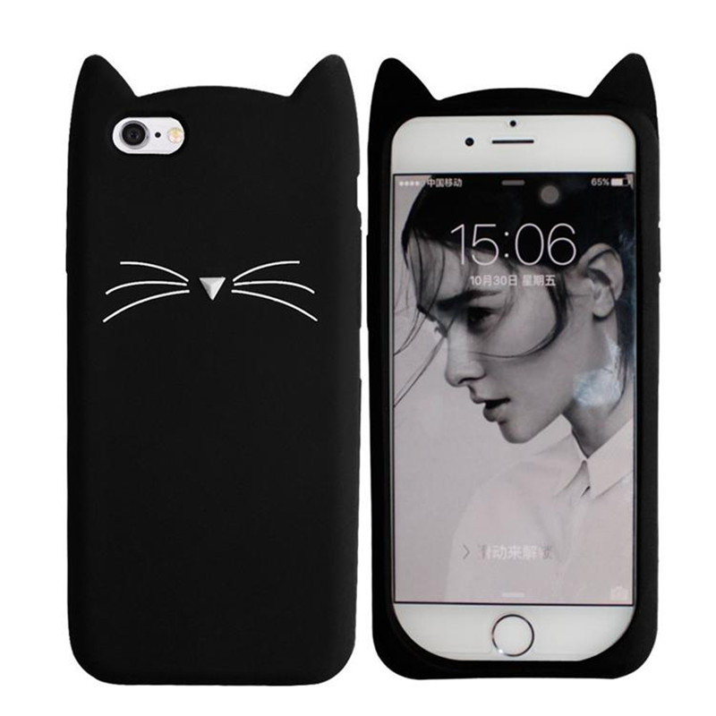 Lovely 3D Black Cat Ears Beard Phone Cases For iphone 5 5s Se 6 6S 6Plus 7 7Plus Cartoon Soft Silicone Cover Funda Coque BA606