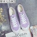 Wikileaks 2016 Женщины Повседневная Коллаж Стиль Твердые Холст Обувь Женщина Квартира С Шнуровке Черный Классический Студент Обувь Zapatos Mujer
