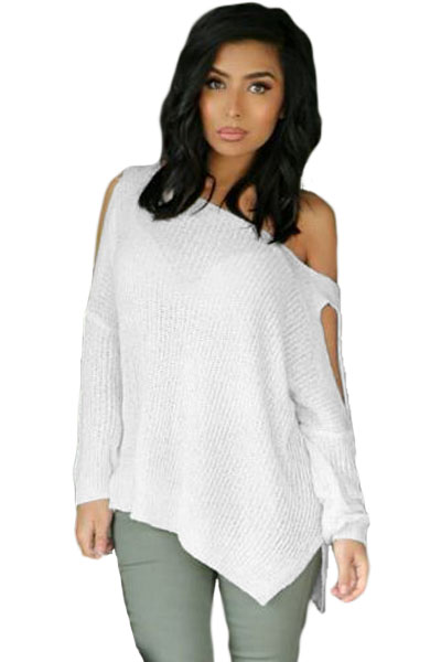 2016 Autumn New Sexy Sweater Tops For Women Off The Shoulder <font><b>Hollow</b></font> <font><b>Out</b></font> Long Sleeve Slit Arm and Side <font><b>Ribbed</b></font> <font><b>Knit</b></font> Top LC27639