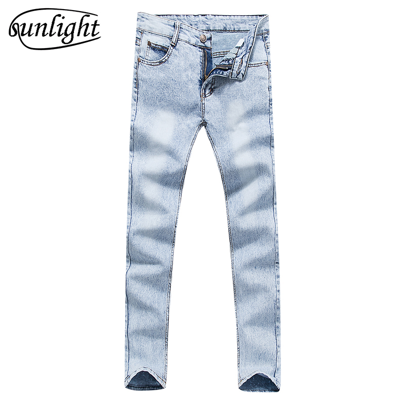 Men's high quality cotton stretch skinny   jeans   2017 fashion brand trousers sky blue white black blue brown khaki pants 27 to 36