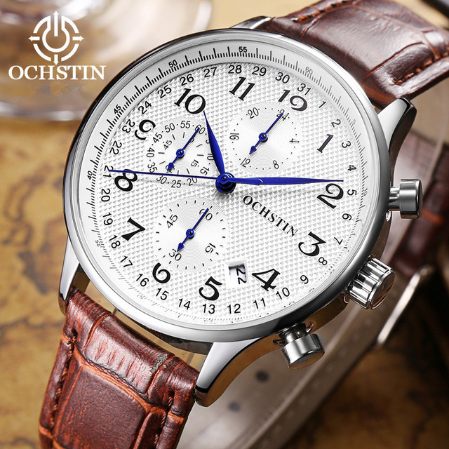OCHSTIN Luxury Brand Watches Men Six pin Leather Military Sport Quartz Watch clock Man Fashion Casual Business Wristwatches