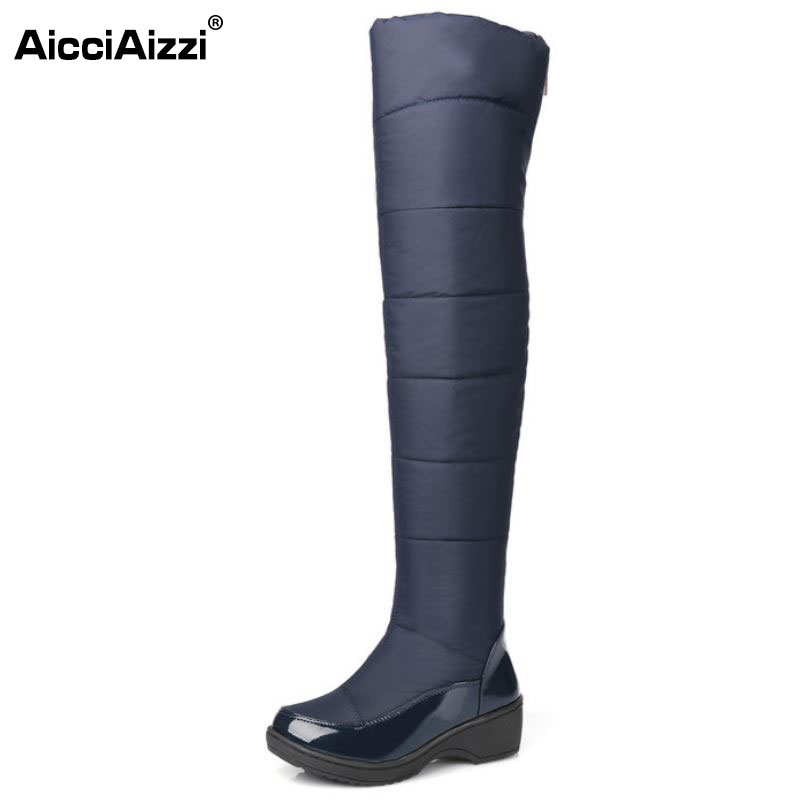 ФОТО New Women's Over Knee High Winter Boots Female Rubber Sole Warm Fur Shoes Outdoor Dress Platform Snow Boots Size 35-40 K00652