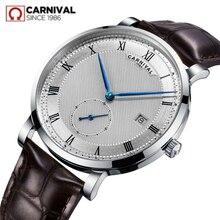 Механические часы Carnival Swiss, мужские водонепроницаемые Роскошные брендовые часы с кожаным ремешком, мужские часы