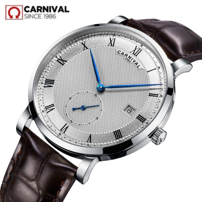 Carnival switzerland Mechanical watch men waterproof leather Luxury brand Men Watches Clock reloj hombre erkek kol saati relogio