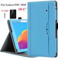 Pour 10.1 Lenovo Tab P10 TB-X705F/L support à main en cuir étui pour Lenovo M10 TB-X605F/N housse étui tablette + Film