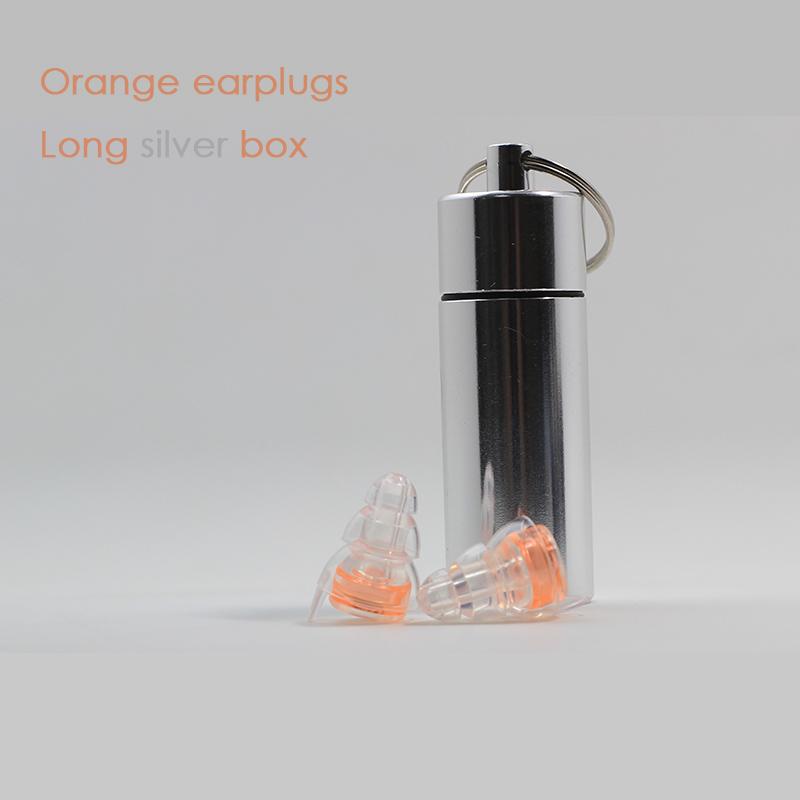 Orange earplugs + Long silver box