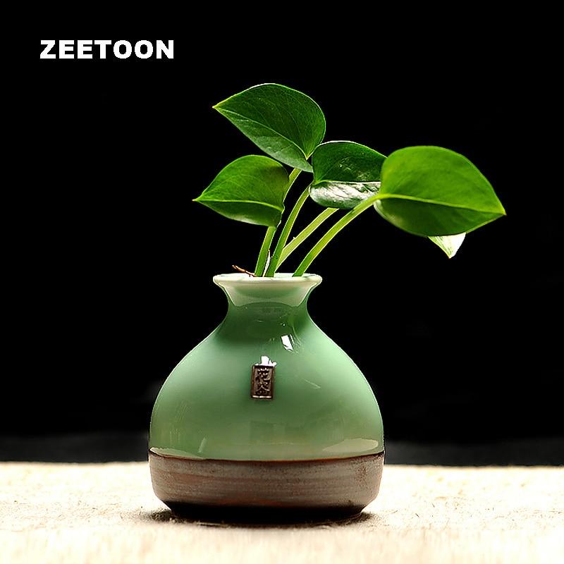 Vintage Longquan Celadon Lovely Mini Vase Hydroponics Flower Pot Living Room Ikebana Tabletop Ceramic Creative Home Decor vase