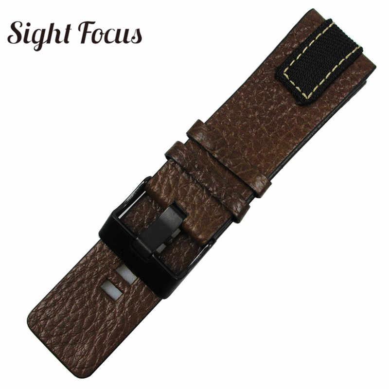 26mm 28mm durável lichi grão pulseira para pam seiko diesel dz pulseira de relógio pulseira de couro militar cinto marrom