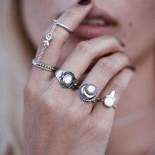 Фотография 5 pcs/Set Vintage Ring Sets Fashion Designer Antique Alloy Opal Midi finger Rings for Women Knuckle Ring