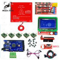 Reprap Ramps 1.4 Kit With Heatbed mk2b + Mega 2560 R3+ 12864LCD Controller + A4988 Driver + Endstops + Cables For 3D Printer 1