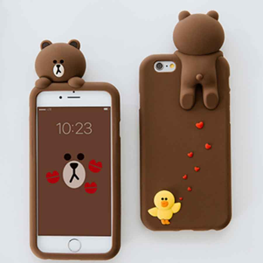 competitive price d495e 22afc 3D Cute Line Brown Bear Phone Cases For iPhone 6 6s plus 7 7plus ...