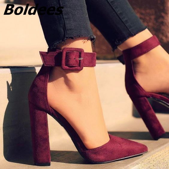 Glamorous Line Buckle Style Pointy Block Heel Pumps Classy Burgundy Suede Heels Chic Women Fashionable Chunky Heel Dress Shoes simple women s pumps with chunky heel and suede design