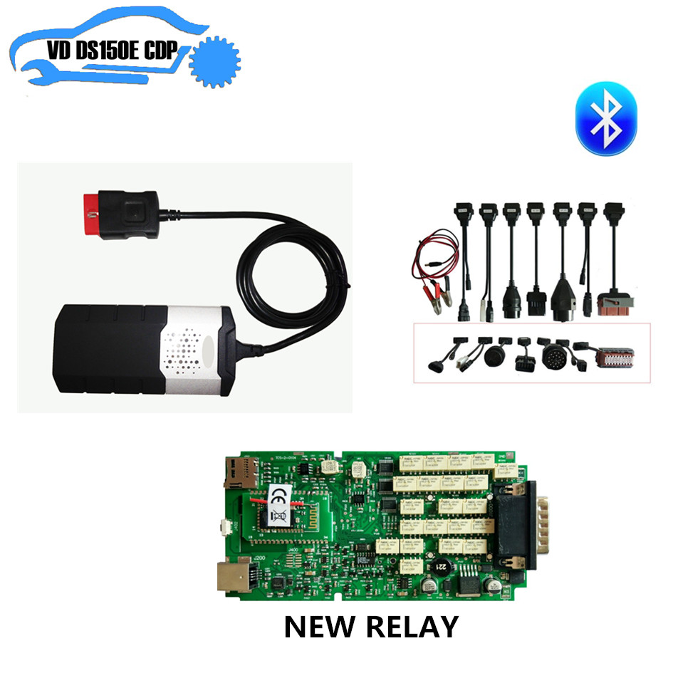 Single PCB new nec relay Bluetooth for delphis for autocoms vd ds150e cdp new vci pro plus + 8pcs full set car cable can choose цена