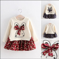 2016 Hot sale new style spring girls dresses 2 color rabbit  Bowknot charms shirts and floral vestidos toghter baby costume