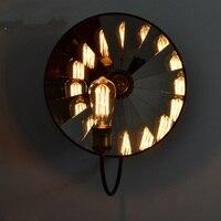 Retro industrial mirror round wall lamps warehouse balcony outdoor wall lights Restaurant Bar Loft bedroom bedside lamp ZA