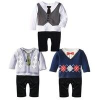 1 stücke Neugeborenen Jungen Gentleman Romper Weicher Baumwolle Bowtie Bedruckte Langarm Kleinkind Baby Overall Jungen Overall Kleidung
