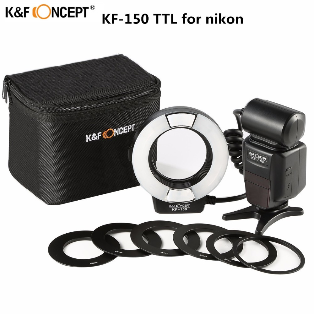 Newest K&F CONCEPT KF-150 Flash Speedlite Master Slave 14GN TTL Speedlight With Reflector For Nikon Camera D3300 D5300 D7200 spash sl 685c gn60 wireless master slave flash light ttl speedlite for nikon lcd screen cameras flash adjustable fill light